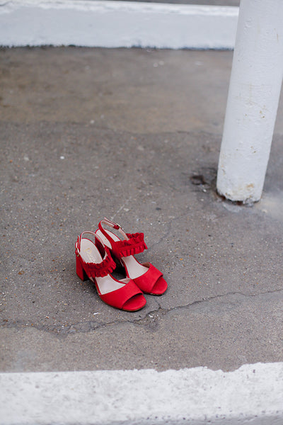 Handmade in Italy Bright red suede sandals with Block heel and ruffled front by Portamento