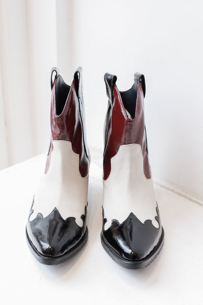 Cleef White/Burgundy Ankle Boots