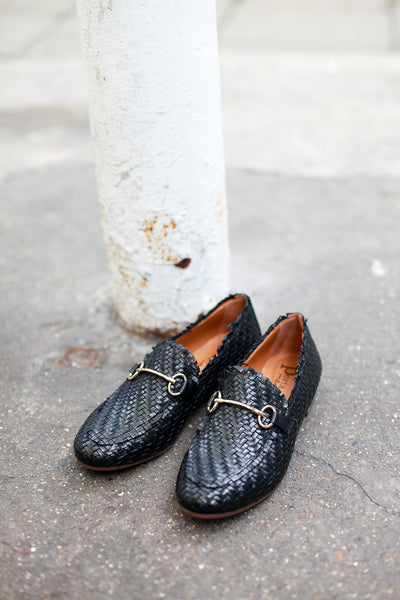 Lea Cross Black Loafers