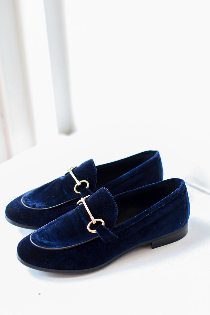 Lea Blue Velvet Loafers