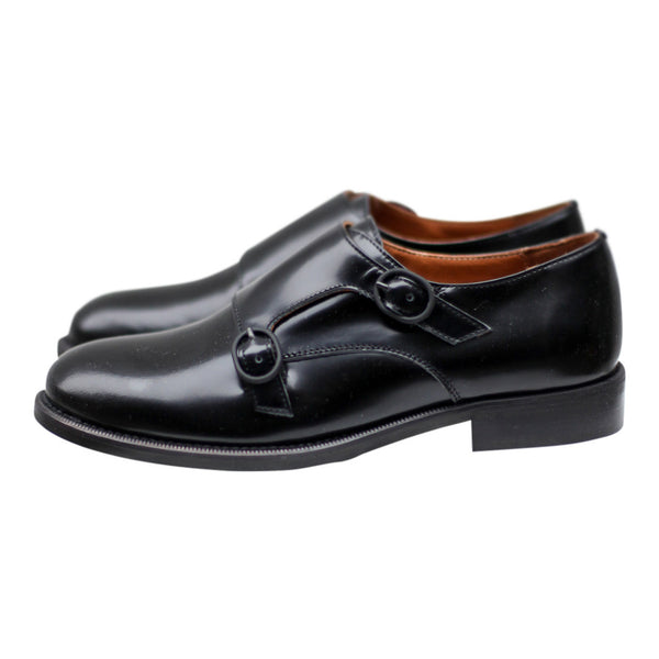 Women's black monk strap brogues close up side