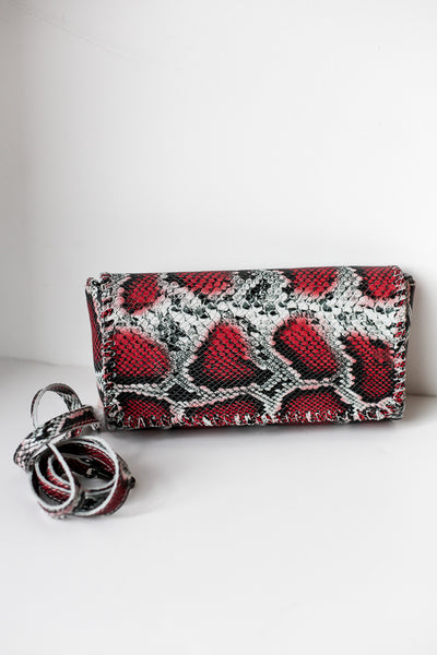 Snake Leather Bag Red