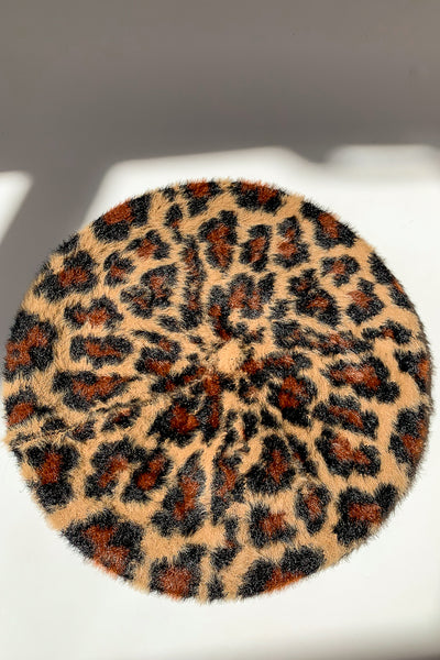 Leopard Print Beret Brown
