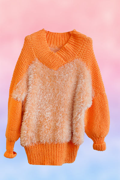 Fluffy Hot Orange Jumper
