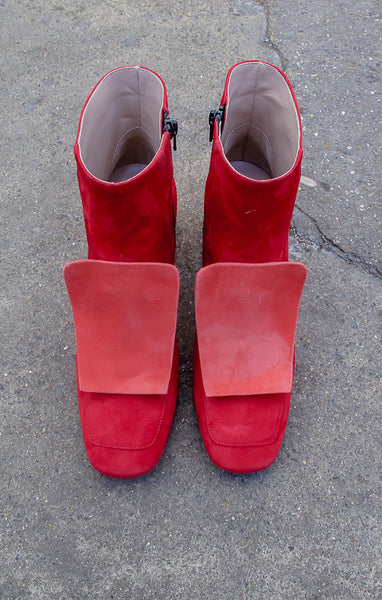 Lucy Red Ankle Boots
