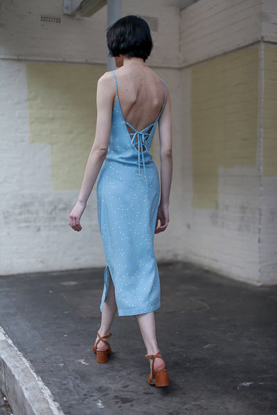 another label celestial blue lake slip dress