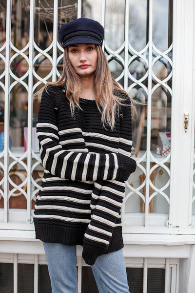 chunky black and white stripe jumper by leonie