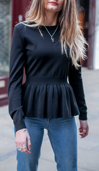 Crowe givona black peplum knit by mbym