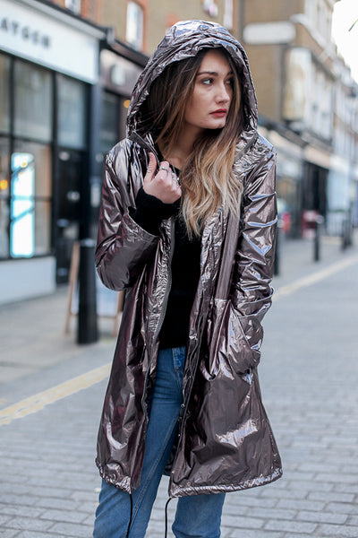 Hooded Metallic Rain Coat