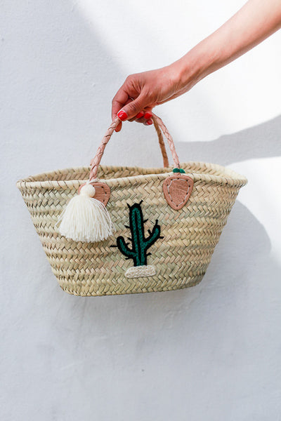 Straw mini panier Leather top handles Embroidered with cactus