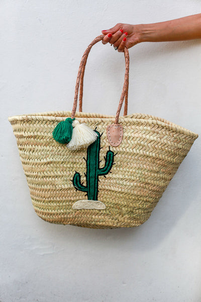 Straw big panier Leather top handles Embroidered with cactus
