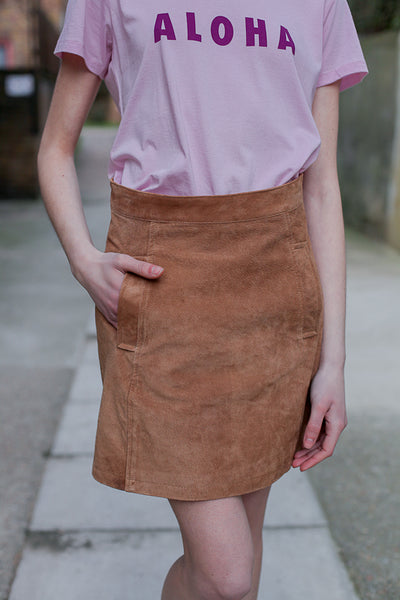 CARLA SUEDE SKIRT TAN