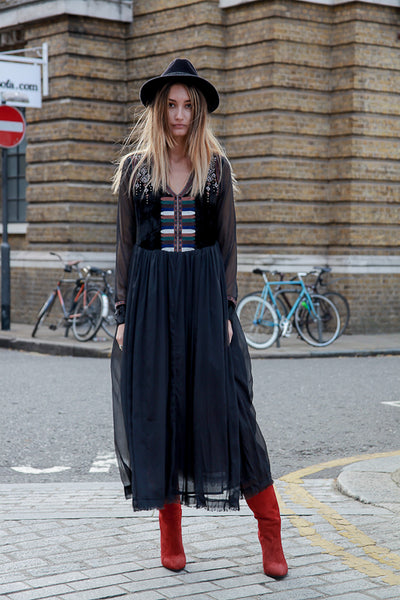 BOHO SHEER LONG BLACK DRESS BY LEONIE