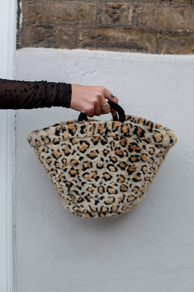 LEOPARD FAUX FUR TOTE BAG