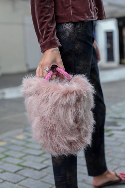 FAUX FUR PINK TOTE BAG