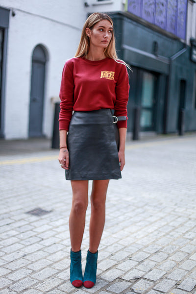 DOVE LEATHER SKIRT