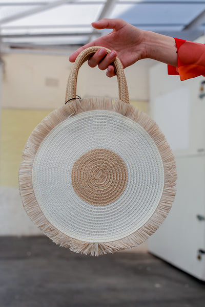 Circle Raffia Bag Taupe