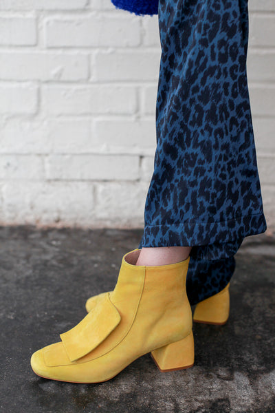 Lucy Yellow suede ankle boots by Portamento