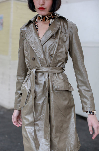 Trench Coat Patent Taupe