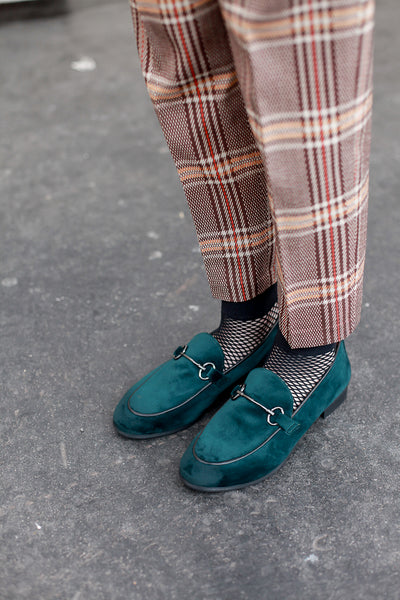 Lea Green Velvet Loafers