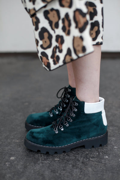 Carrie - Velvet Leather Combat Boots by Portamento - Shop at S120