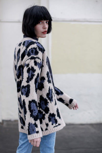 Leopard Print Knitted Maxy Cardigan by Fabienne Chapot - Shop at S120