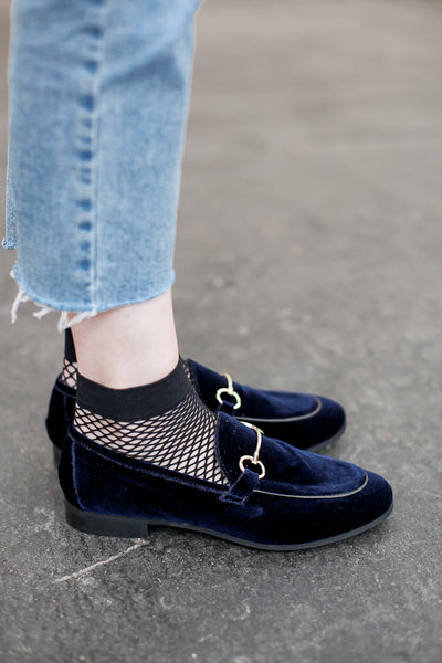 Velvet blue leather loafers by Portamento - shop at S120