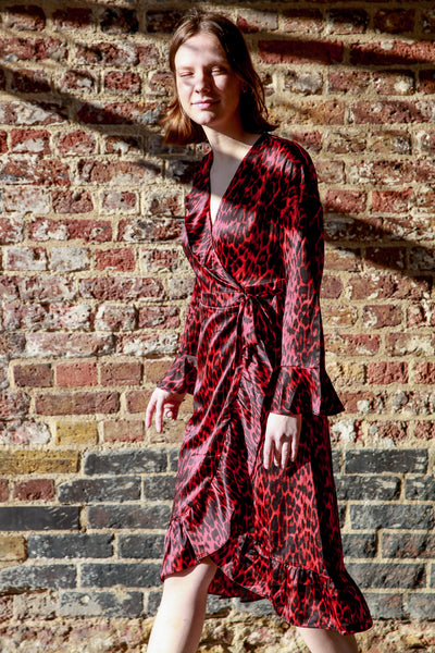 red leopard animal print frill wrap dress by co couture