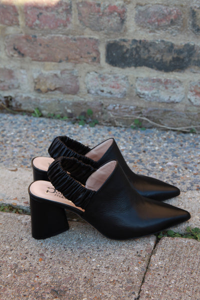 janine black leather mules made in italy portamento