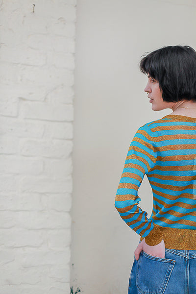 Lurex Knit Stripe Pullover