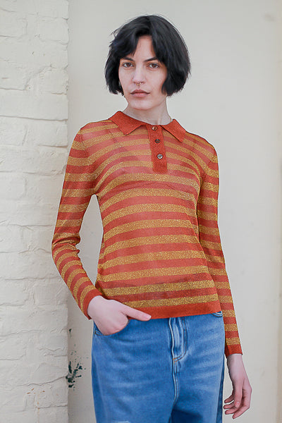 lurex knit polo top by happy sheep