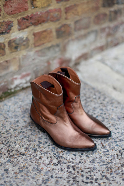 Clint Copper Metallic Ankle Boots