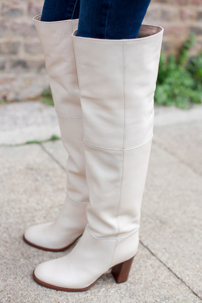 Lola Off White Over the Knee Boots