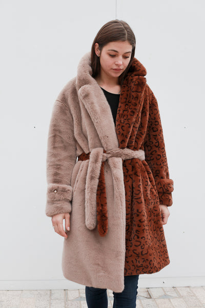 Mixed Animal Print Coat