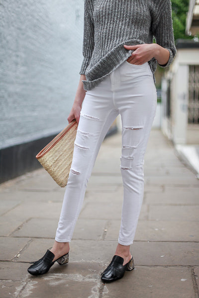 WAVEN SKINNY RIPPED JEANS