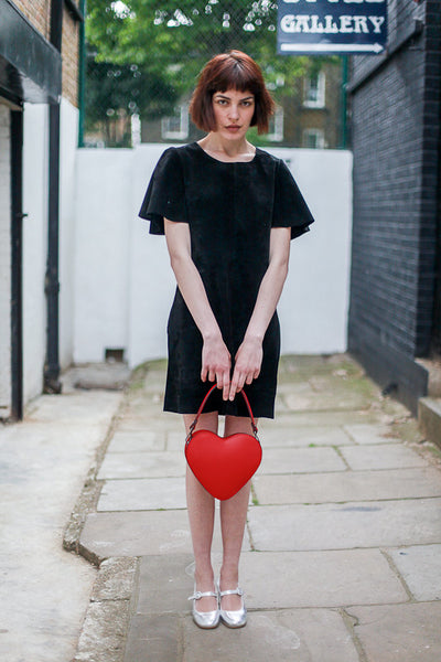 Red Heart Leather Bag, Made in Italy