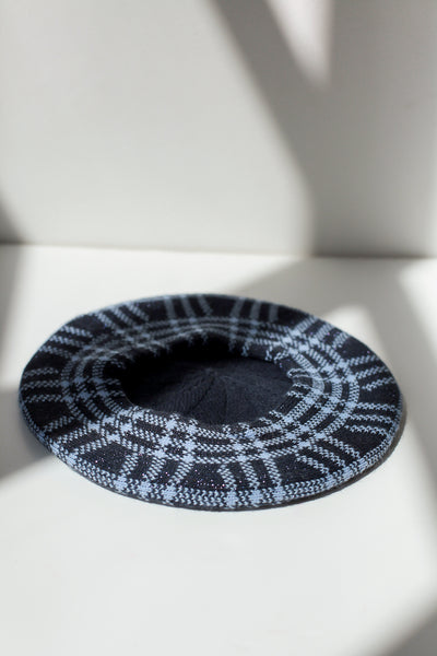 Knitted Beret Check Blue