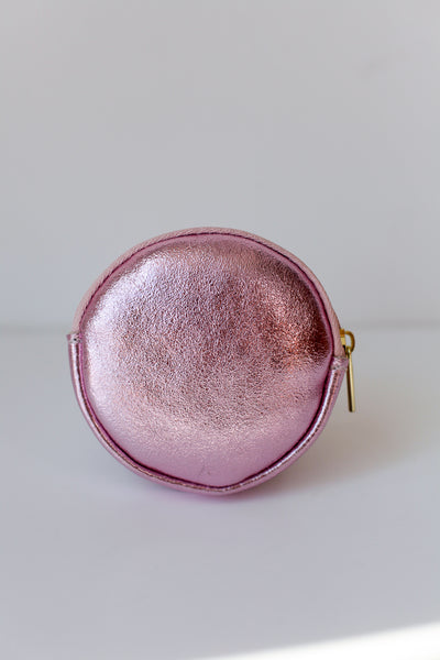 Round Metallic Purse - Rose Gold