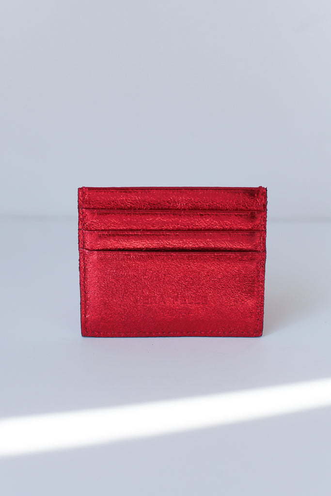 Metallic Card Purse - Red