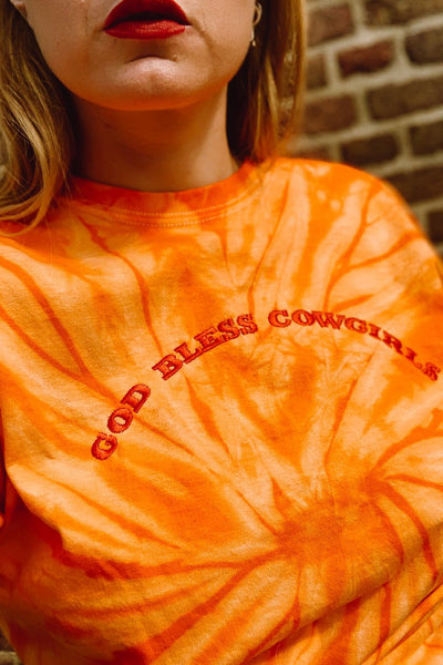 God Bless Cowgirls Tie Dye Tee Orange