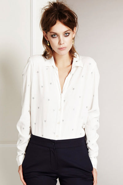 Blouse with silver star embroidery by Fabienne Chapot