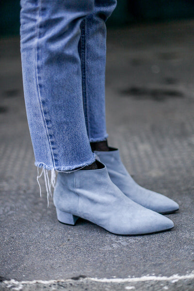 Portamento Blue Suede Ankle Boots - Made in Italy