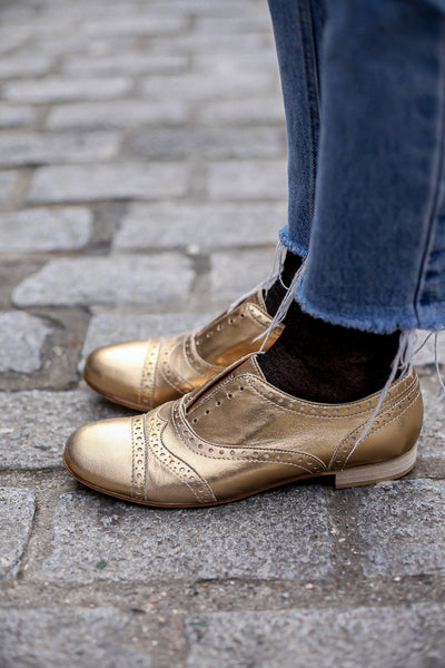 Portamento Gold metallic leather brogue shoes - Made in Italy
