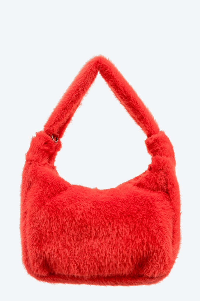 Paris Faux Fur Bag Red