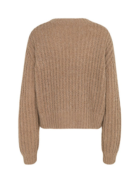 chunky wool melange brown cropped knit jumper by MBYM
