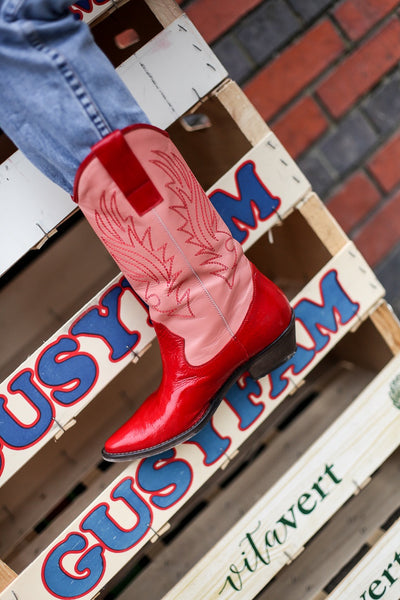 Donna Pink/Red Cowboy Boots