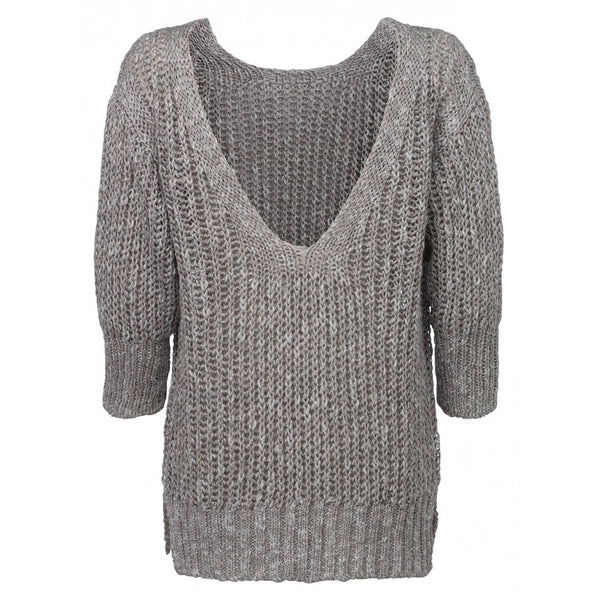 YAYA CHUNKY KNIT V BACK LINEN SWEATER