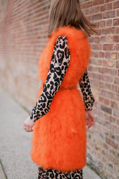 Orange Feather Sleeveless Coat