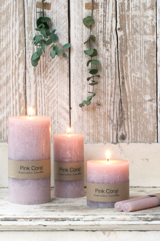 pink coral pillar candle by dassie