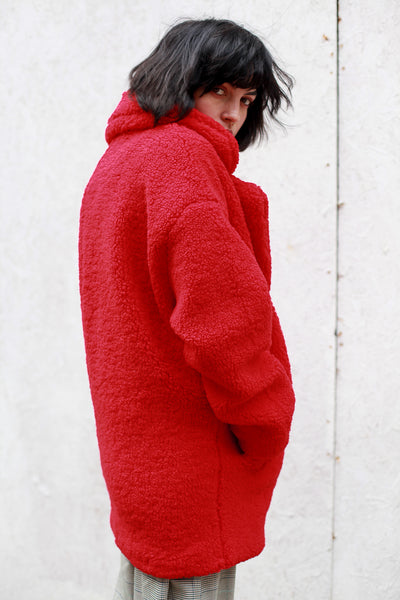 Sevina Red teddy Coat by MbyM - Shop at S120